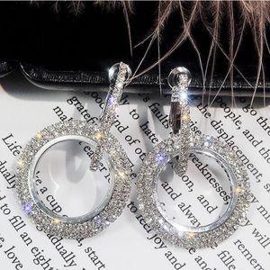 Jewelry - 🆕 Crystal double hoop earrings Silver